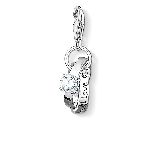 Thomas Sabo Women-Charm Pendant Wedding rings Charm Club 925 Sterling Silver blackened Zirconia white 0673-051-14