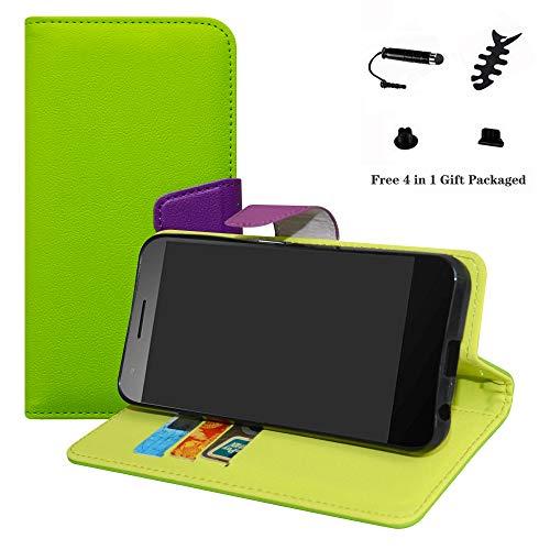 LFDZ Vodafone Smart E8 Hülle, [Standfunktion] [Kartenfächern] PU-Leder Schutzhülle Brieftasche Handyhülle für Vodafone Smart E8 Smartphone (mit 4in1 Geschenk Verpackt),Grün
