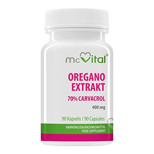 Oregano Extrakt - 400 mg - 70% Carvacrol - Gesunde Verdauung - Reich an Aktivstoffen - 90 Kapseln