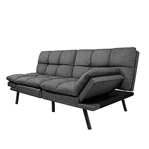 Futon Sofa Bed, Modern Convertible Futon Sleeper Couch Daybed with Adjustable Armrests for Studio, Apartment, Office, Small Space, Compact Living Room, Dark Gray