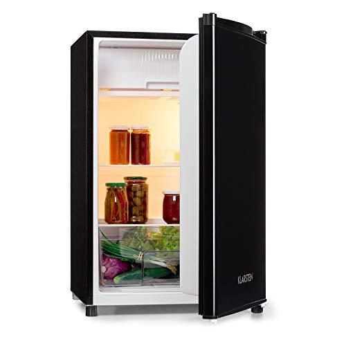 KLARSTEIN Samara Nevera - 120 litros de Volumen Interior útil, Eficiencia energética A+, Cajón para Verduras, Baldas de Vidrio, 3 Compartimentos en la Puerta, Iluminación Interior, Negro