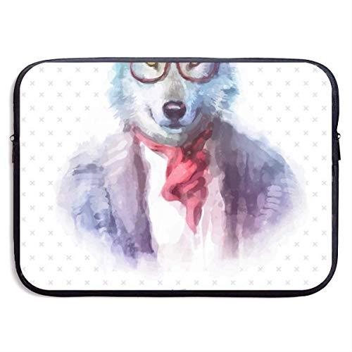 955 Retrato De Lobo con Gafas De Sol 15 Pulgadas Funda Ordenador Portatil Bolsa para Portátil Bolsa Pc Portátil Maletín para Portátiles