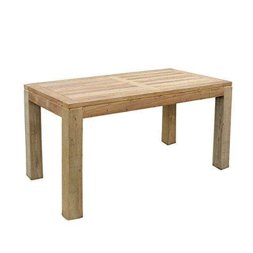 Mojawo Massivholz Gartentisch aus Teakholz Esstisch Teaktisch Indoor und Outdoor 150x80x75cm