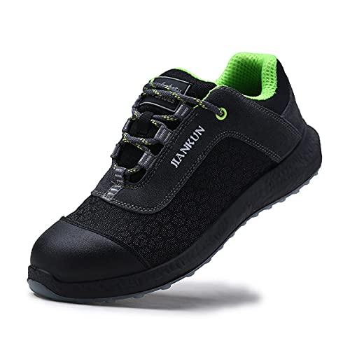 Aingrirn Zapatos de Seguridad Hombre Mujer con Punta de Acero Zapatillas de Trabajo Ligeros y Transpirables Calzado de Construcción Reflexivo (Color : Black, Size : 46 EU)