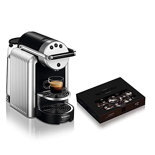 NESPRESSO - Cafetera profesional Zenius, incluye 50 cápsulas de café – Cafetera eficiente, ideal para pequeñas oficinas o salas de reuniones, color plateado