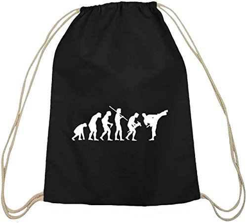 Shirtstreet24, EVOLUTION JUDO, Kampfsport Karate Baumwoll natur Turnbeutel Rucksack Sport Beutel, Größe: onesize,schwarz natur