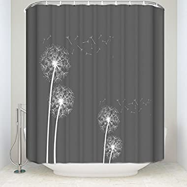 Shower Curtains Waterproof Polyester Fabric for Bathroom Decor Sets with Hooks, Waterproof & Antibacterial, Odorless, 60x72 inches - Thistle Dandelion with Grey Background