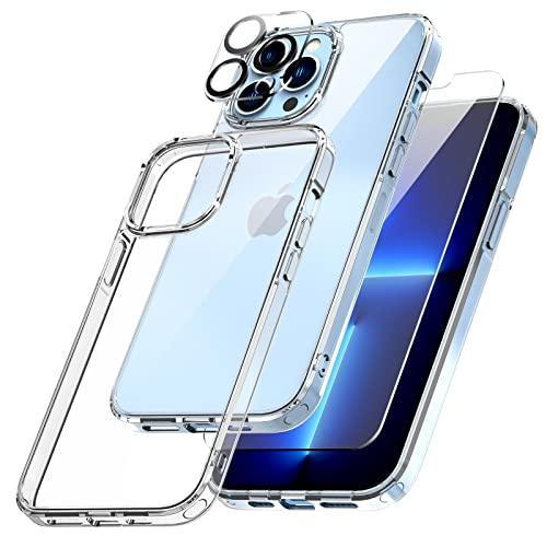 TOCOL Coque Compatible avec iPhone 13 Pro 6.1 Pouce, 2 Peices Verre Trempé et 2 Peices Caméra Arrière Protecteur, Ultra Mince Antichoc Dur Magnétique Housse de Protection - Transparente