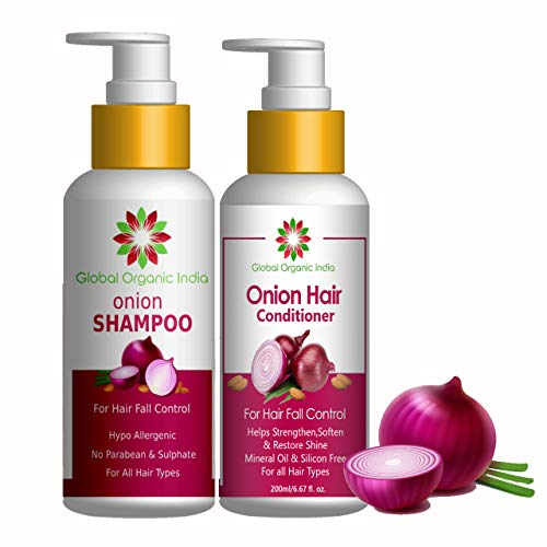 Global Organic India Red Onion Black Seed Oil Shampoo & Conditioner Kit With Red Onion Seed Oil Extract, Black Seed Oil & Pro-Vitamin B5 (Shampoo + Conditioner), 400 ml