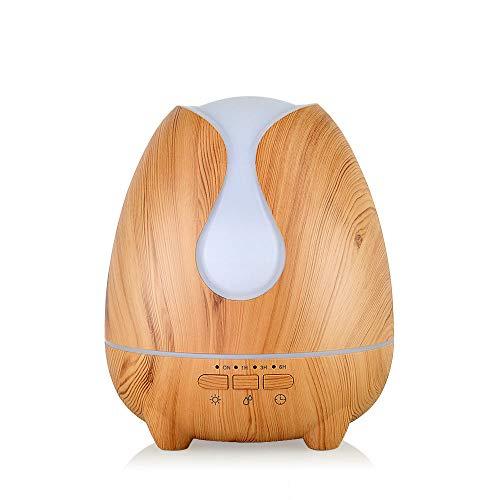 500ml Mini Humidificador con 7 Encendedores de Color,Grano de Madera Humidificador Alergia Modo de Niebla Ajustable, Sin BPA, Apagado Automático Sin Agua, Difusor Humidificadorpara Home SPA Yoga Hab