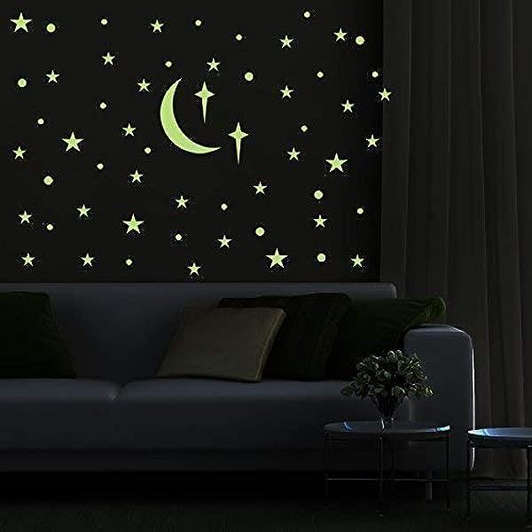 PARLAIM 可移除黑暗中的辉光星星墙贴发光天花板墙贴花剥离棒艺术装饰卧室托儿所客厅儿童女孩和男孩 272 件