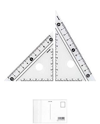 レイメイ藤井 定規 見やすい白黒 三角定規 白 10cm APJ251W + 画材屋ドットコム ポストカードA