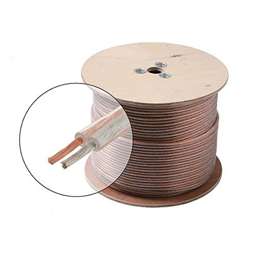 100' FT Speaker Cable 16 AWG gA 2 Conductor Wire Clear Pure Copper Oxygen Free 16 Ga 16/2 In-Wall Super Flex Digital Audio Signal Home Theater Sound, UL Listed