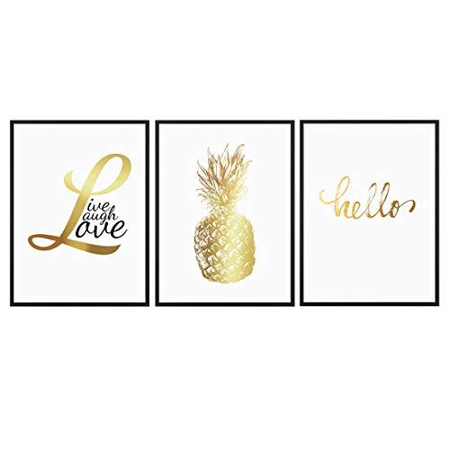 PHOTOLINI 3er Set Design-Poster No.40 mit Bilderrahmen Schwarz 30x40 cm Golddruck Typografie Spruch Hello Love Ananas