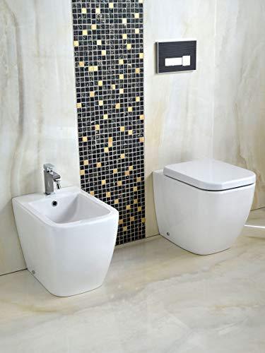 Yellowshop - Sanitari Bagno A Terra Pavimento Filo Muro Mod. Klass Vaso Wc + Bidet E Coprivaso Soft Close