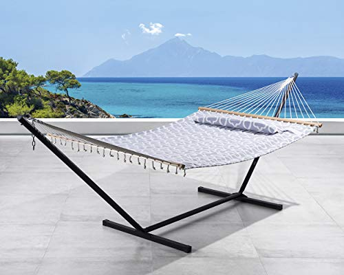 SUNCREAT Double Hammock, Extra Large Quilted Fabric Swing with Thick Hardwood Spreader Bars & Detachable Pillow, Heavy Duty, Perfect for Indoor/Outdoor Patio, Deck, Yard (12 FT Steel Stand Included)