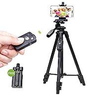 カメラ三脚マウント YUNTENG VCT5208RMアルミマグネシウム合金脚三脚マウント付きBluetoothリモートコントロール&三脚ヘッド&一眼レフカメラ&スマートフォン用クランプ、最大高さ:125 cm