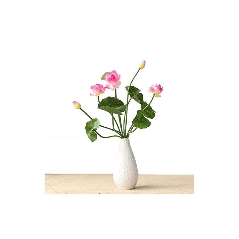 silk flower arrangements artificial lotus fake flowers bouquet 5 heads/bundle with leaves real looking lotus for wedding home party living room hotel decorations