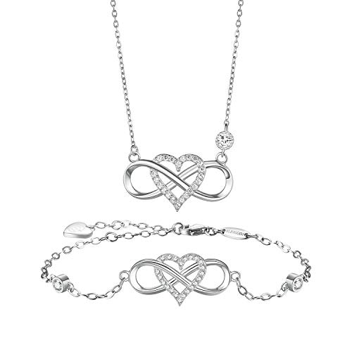 BlingGem Women Jewellery Sets 18ct White Gold Plated 925 Sterling Silver Round Cubic Zirconia Infinity Heart Necklace and Bracelet Sets Symbol Together Forever