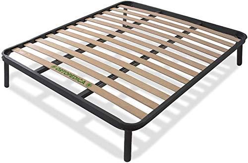 SARDAMATERASSI Somier ortopédico para cama de matrimonio de 160 x 190 cm con 13 láminas de madera, estructura robusta, patas atornillables, altura total de 35 cm con soportes antichirridos