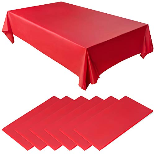 Red Disposable Plastic Tablecloth Set, 6 Pack, Long 8ft Rectangular Length, Waterproof Table Covers for Indoor or Outdoor Events, Birthday Parties, Weddings or Graduations, 54 x 108 Inch