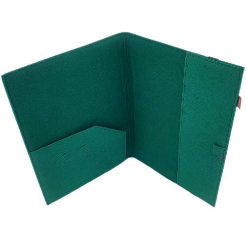 Venetto - Funda organizadora de fieltro con compartimento para tarjetas, sobre, documentos, calendario, cuaderno, color Verde, talla DIN A4 Einband
