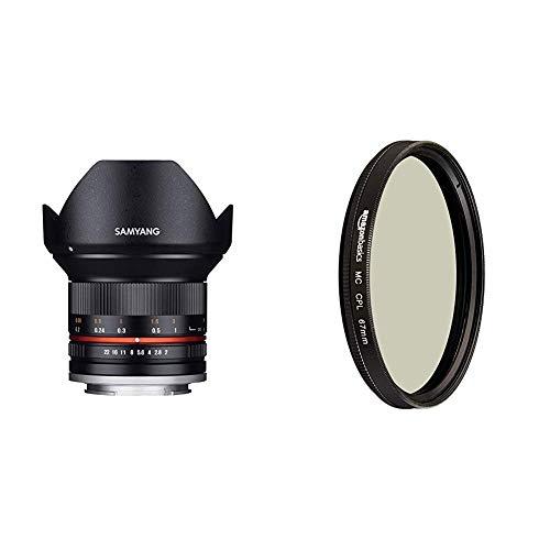Samyang 12mm F2.0 Objektiv für Anschluss Sony E - schwarz & AmazonBasics Zirkularer Polarisationsfilter - 67mm