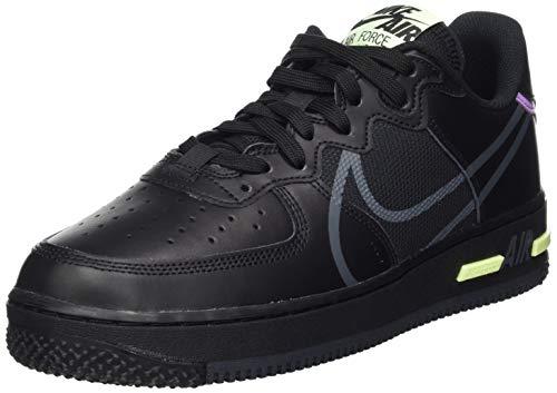 Nike Herren Air Force 1 React Basketballschuh, Schwarz/Anthrazit Violett Sternschnell Volt, 43 EU