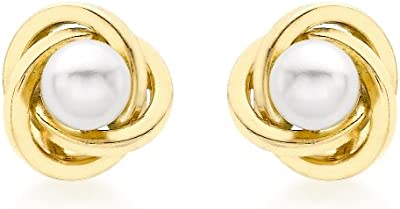 Carissima Gold 9ct Yellow Gold 8mm Knot and Pearl Stud Earrings