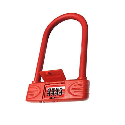 First Choice Fahrrad u Sperren, Anti-Cut-D-Lock-Fahrradschloss mit 1,2M Flex-Kabel- und Montagehalterung, hohe Sicherheit for Fahrrad, E-SCTOOER und Motocycles Xping plm46 (Color : Red)