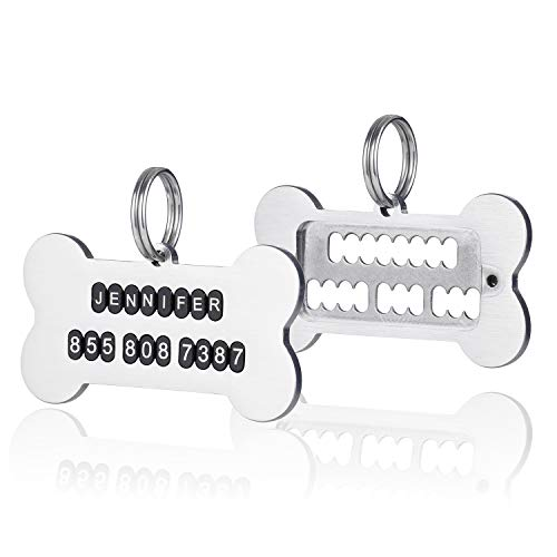 STVK Dog Tag [DIY] Make Your Dog A Pet ID Tag by Yourself, Engraved Personalized Dog ID Tags,Lightweight Stainless Steel, Fulfilled by Amazon Directly, Bone Design (NO Words On, SmallSize)