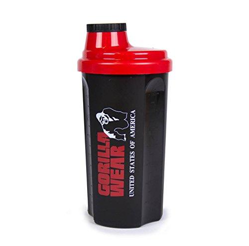 GORILLA WEAR Shaker 700ml - schwarz/rot - Bodybuilding und Fitness Accessoire für Damen und Herren