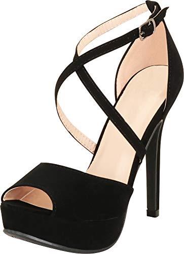Cambridge Select Women's Open Toe Crisscross Strappy Chunky Platform Extra High Heel Sandal,7.5 B(M) US,Black NBPU