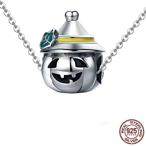 Zounghy Pandora Cinderella Kürbis Kutsche Anhänger S925 Sterling Silber Halskette Halloween Hut Kürbis Halskette für Frauen Geschenk.