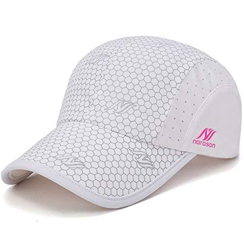 KimTime verstellbar Mütze Schnelltrocknende Schirmmütze UV-Schutz Kappe für Herren und Damen Sommer-Weiss-Einheitsgröße