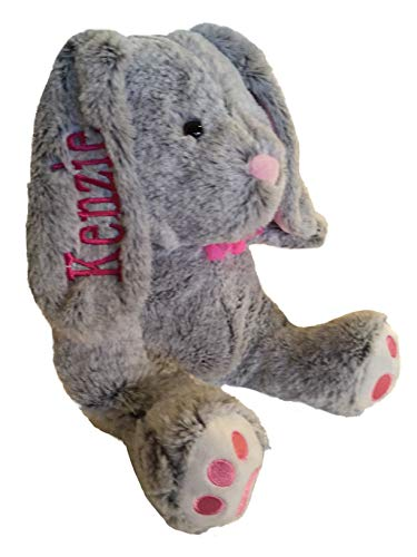 Personalized Plush Bunny-14 inches Tall- Stuffed Animal-Baby Gift (Grey with Pink Feet)