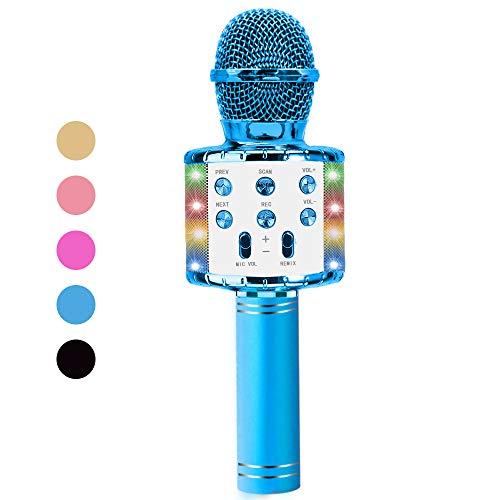 Vailge Karaoke Mikrofon Kinder Drahtloses Bluetooth Mikrofon mit LED Leuchten, Tragbarer Karaoke Maschinen Lautsprecher Kompatibel mit Android/IOS, Kindermikrofon für Musik Spielen KTV Party (Blau)