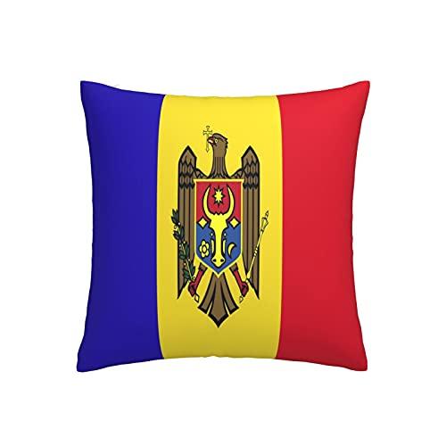 Kissenbezug, Motiv: Flagge von Moldawien, quadratisch, dekorativer Kissenbezug für Sofa, Couch, Zuhause, Schlafzimmer, für drinnen & draußen, 45,7 x 45,7 cm