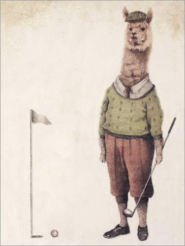 Posterlounge Cuadro de Madera 70 x 90 cm: Alpaca Golf Club de Mike Koubou