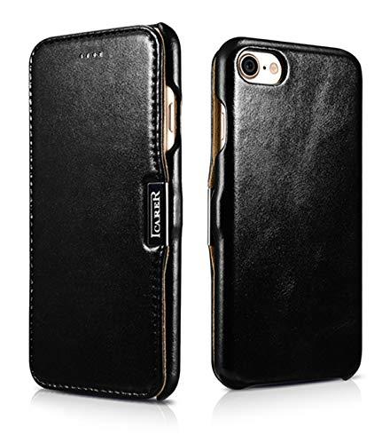 ICARER Tasche passend für Apple iPhone SE 2020, iPhone 8 & iPhone 7 (4.7 Zoll), Hülle mit Echt-Leder Außenseite, Schutz-Hülle seitlich aufklappbar, Ultra-Slim Cover, Etui im Vintage Erscheinungsbild, Schwarz