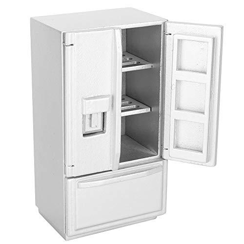 Zerodis 1: 12 Doppeldeck Kühlschrank, Mini Birke Holz Mini Kühlschrank Kühlschrank Puppenhaus Küchenmöbel für Puppenhaus Dekoration(Silber)