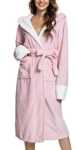 CMTOP Albornoces para Muje de Dormir Batas Mujer de Pijamas Mujer Algodón con Escote en V Albornoz de Kimono de Ropa de Dormir con Cinturón (Rosa , Talla única)