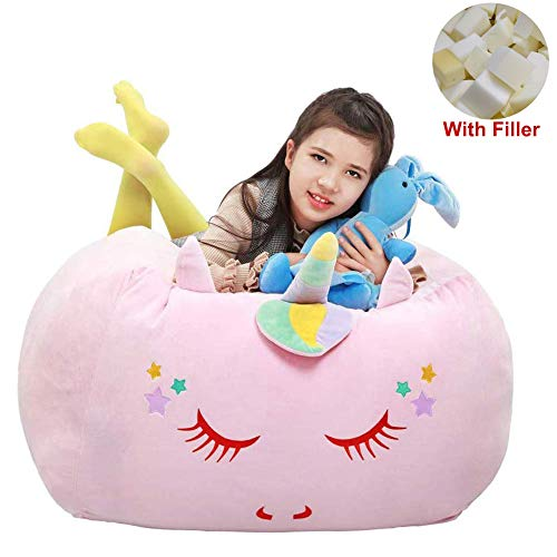 Yoweenton Unicorn Bean Bag Chair with Memory Foam Filler, 24x24x20 Inch Velvet Extra Soft Lazy Beanbag Sofa Giant Toy Gift for Kids Teens
