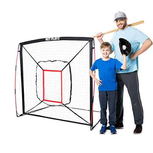 NET PLAYZ 5' x 5' Baseball & Softball Practice Hitting & Pitching Net Similar to Bow Frame, Great for All Skill Levels, Pop up/Easy Fold up/Fiberglass Frame, Light Weight, Portable, Black (NOC05040)