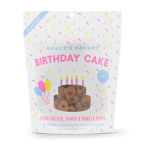 Bocce's Bakery Birthday Cake Dog Treats, All-Natural Peanut Butter Vanilla Biscuits