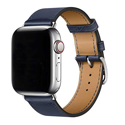 XCool Compatibile Cinturino Apple Watch 44mm 42mm, Pelle Blu Navy per Donna Uomo per iwatch SE Serie 6 Serie 5 Serie 4 Serie 3