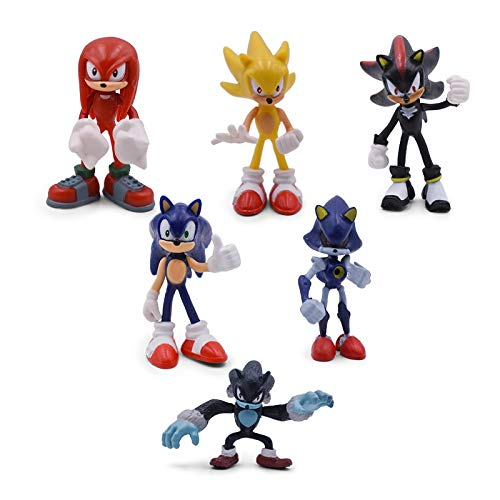 Sonic Figures Juguete 6 Pcs/Set Sonic Figures PVC Shadow Knuckles The Echidna Amy Rose Tails Figure Toy