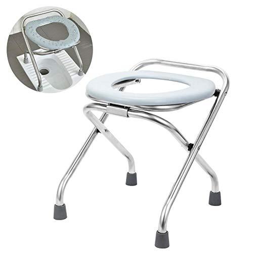 Fahrbarer Toilettenstuhl, Faltbar Toilettenstühle Hygienischer Toilettenstuhl Nachtstuhl für Ältere und Behinderte - Tragbarer Töpfchenstuhl Bequemer Kommodenstuhl Perfekt für Camping-Wanderungen