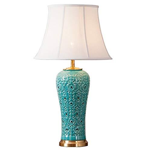 Xuejuan shop Lampada da Comodino/Lampada da Tavolo Lampada da Tavolo in Ceramica Americana Soggiorno Grande Lampada da Tavolo in Stile Europeo con Comodino Azzurro Lampada da Scrivania