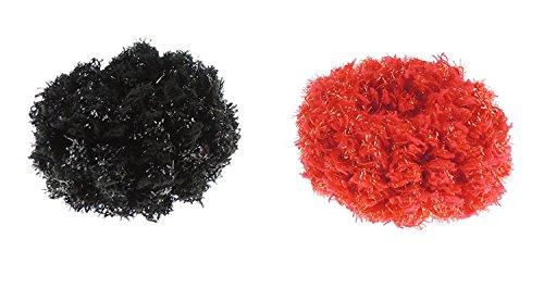 Set van Twee Dames Meisjes Fuzzy Sparkly Ponios Elastiek Haarbanden Eén maat Zwart & Rood